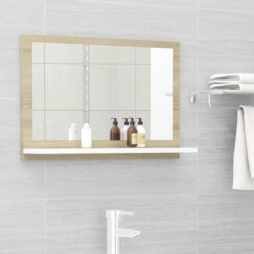 Dream Living Badrumsspegel vit och sonoma-ek 60x10,5x37 cm spånskiva