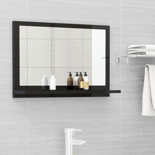 Dream Living Badrumsspegel svart högglans 60x10,5x37 cm spånskiva