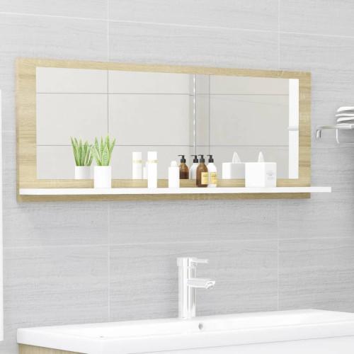 Dream Living Badrumsspegel vit och sonoma-ek 100x10,5x37 cm spånskiva