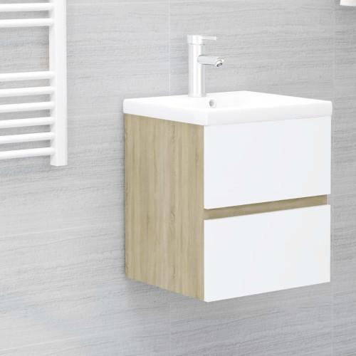Dream Living Tvättställsskåp vit och sonoma-ek 41x38,5x45 cm spånskiva
