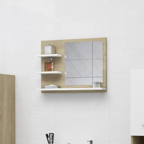 Dream Living Spegelskåp vit och sonoma-ek 60x10,5x45 cm spånskiva