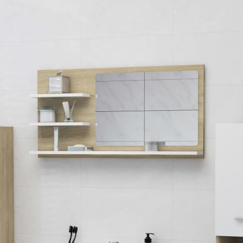 Dream Living Spegelskåp vit och sonoma-ek 90x10,5x45 cm spånskiva
