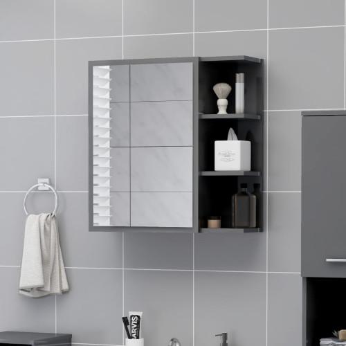 Dream Living Spegelskåp för badrum grå högglans 62,5x20,5x64 cm spånskiva
