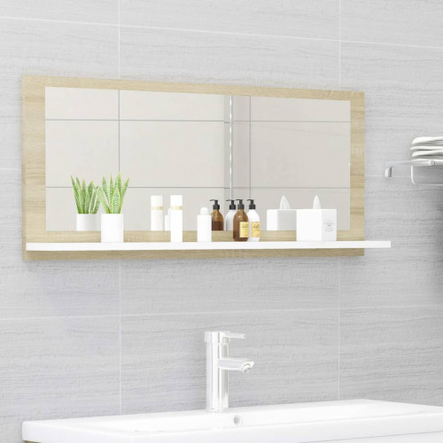 Dream Living Badrumsspegel vit och sonoma-ek 90x10,5x37 cm spånskiva