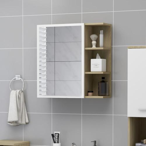 Dream Living Spegelskåp vit och sonoma-ek 62,5x20,5x64 cm spånskiva