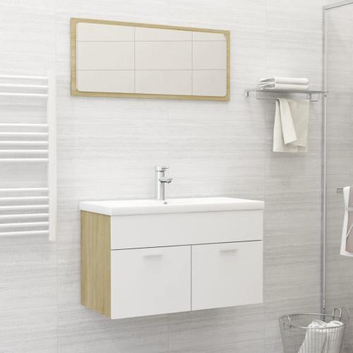 Dream Living Badrumsmöbler set 2 delar vit och sonoma-ek spånskiva