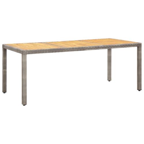Dream Living Trädgårdsbord grå 190x90x75 cm konstrotting och akaciaträ