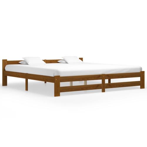 Dream Living Sängram honungsbrun massiv furu 200x200 cm
