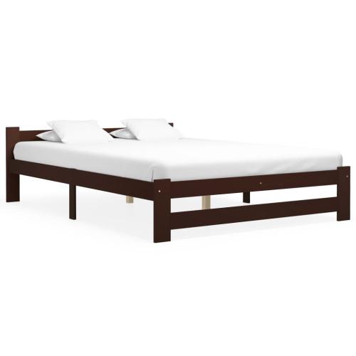 Dream Living Sängram mörkbrun massiv furu 140x200 cm