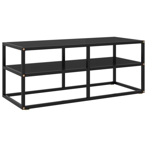 Dream Living Tv-bänk svart med svart glas 100x40x40 cm