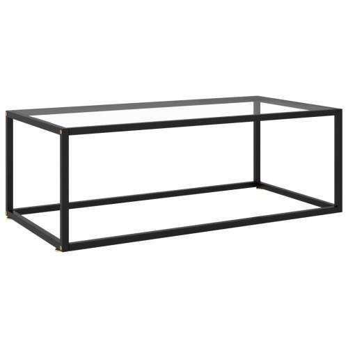 vidaXL Soffbord svart med härdat glas 100x50x35 cm