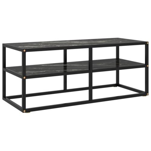 Dream Living Tv-bänk svart med svart marmor glas 100x40x40 cm