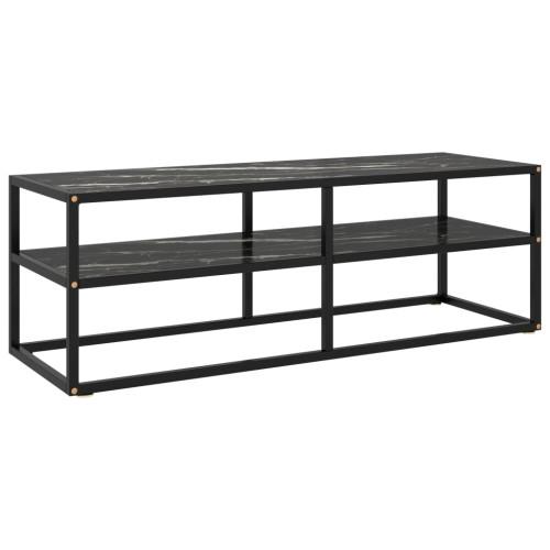 Dream Living Tv-bänk svart med svart marmor glas 120x40x40 cm