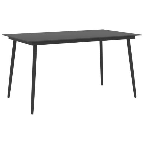 Dream Living Trädgårdsbord svart 150x90x74 cm stål och glas
