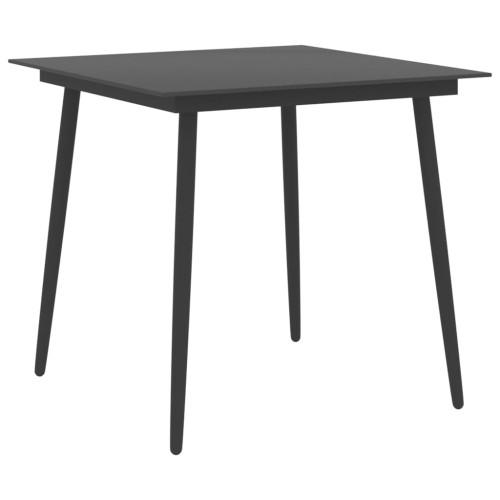 Dream Living Trädgårdsbord svart 80x80x74 cm stål och glas