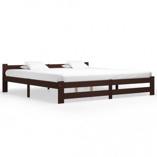 Dream Living Sängram mörkbrun massiv furu 200x200 cm