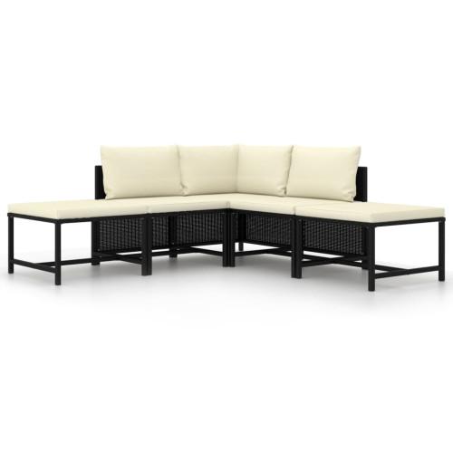 Dream Living Loungegrupp för trädgården med dynor 5 delar svart konstrotting