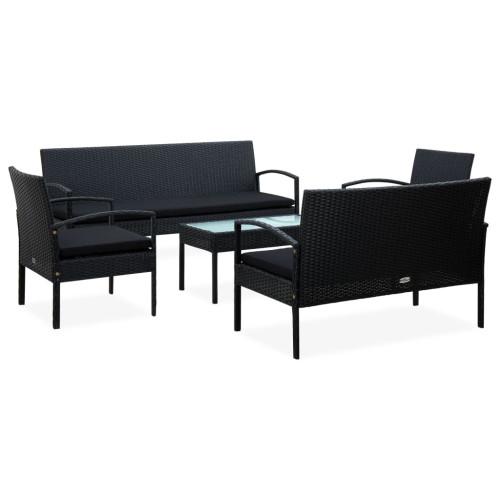 Dream Living Loungegrupp för trädgården med dynor 5 delar konstrotting svart