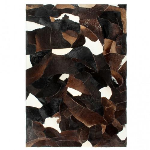 vidaXL Matta lapptäcke äkta läder 80x150 cm svart/vit/brun