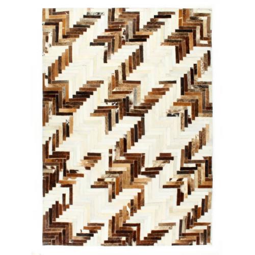 vidaXL Matta lapptäcke äkta läder 80x150 cm brun/vit