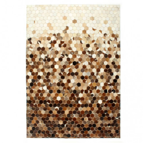 vidaXL Matta lapptäcke äkta läder 120x170 cm brun/vit