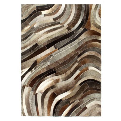 vidaXL Matta lapptäcke äkta läder 80x150 cm grå/silver