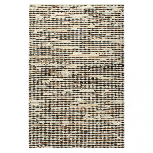 vidaXL Matta äkta läder 80x150 cm svart/vit