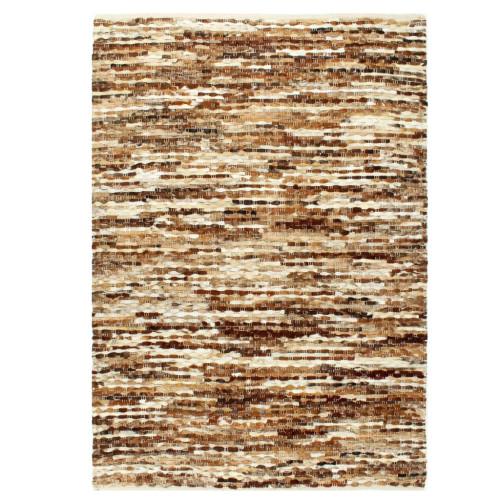 vidaXL Matta äkta läder 80x150 cm brun/vit