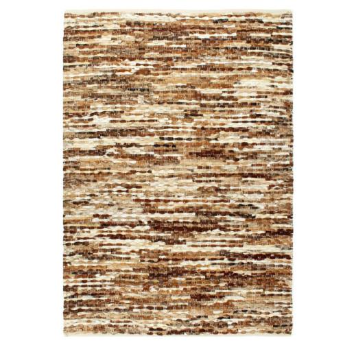 vidaXL Matta äkta läder 120x170 cm brun/vit