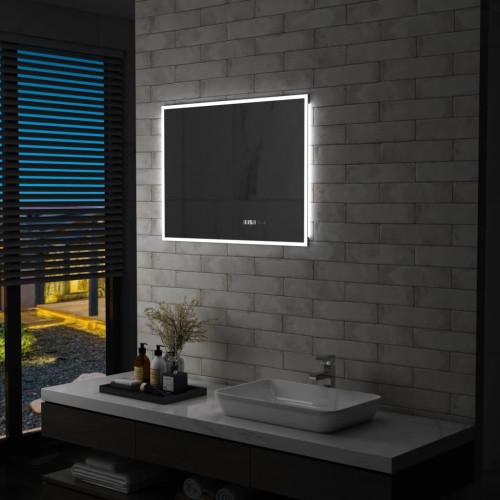 vidaXL Badrumsspegel LED med touch-sensor och tidsdisplay 80x60 cm