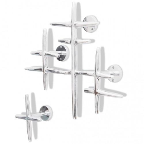 vidaXL 2 Väggmonterade klärkrokar rock/hatt hängare av aluminium Silver
