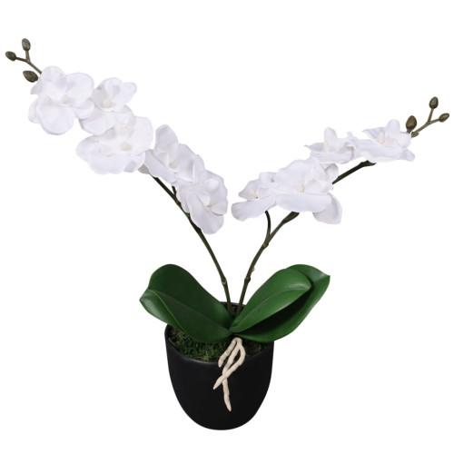 vidaXL Konstväxt Orkidé med kruka 30 cm vit