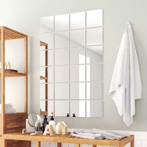 vidaXL Spegelplattor 24 st fyrkantig spegelglas