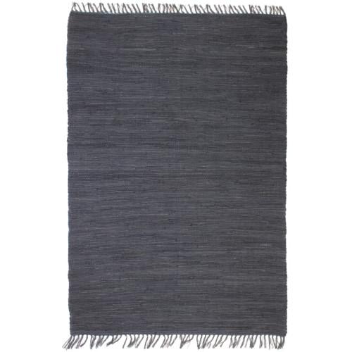 vidaXL Handvävd matta Chindi bomull 80x160 cm antracit