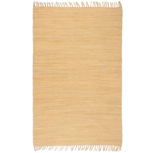 vidaXL Handvävd matta Chindi bomull 80x160 cm beige