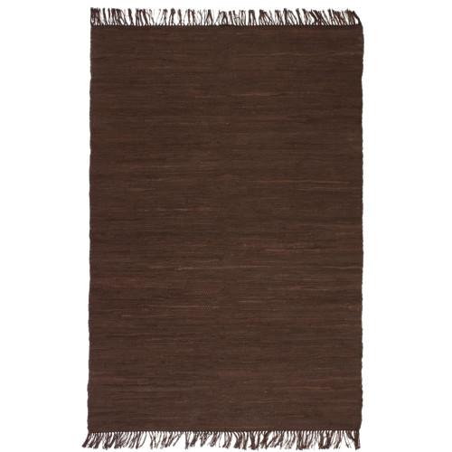 vidaXL Handvävd matta Chindi bomull 80x160 cm brun