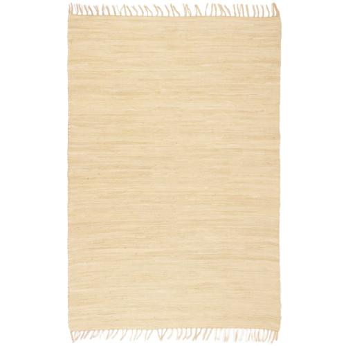 vidaXL Handvävd matta Chindi bomull 80x160 cm gräddvit