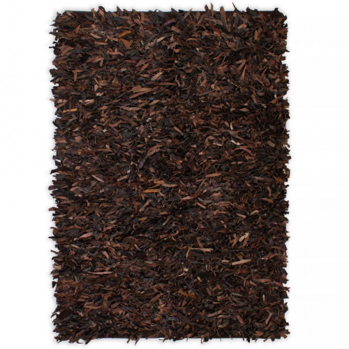 vidaXL Shaggy-matta äkta läder 80x160 cm brun