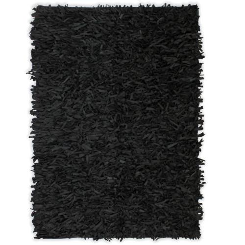 vidaXL Shaggy-matta äkta läder 80x160 cm svart