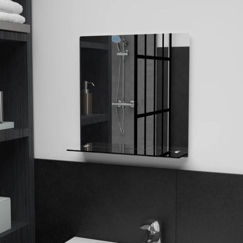 vidaXL Väggspegel med hylla 40x40 cm härdat glas