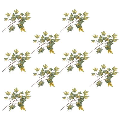 vidaXL Konstgjorda blad lönn 10 st grön 75 cm