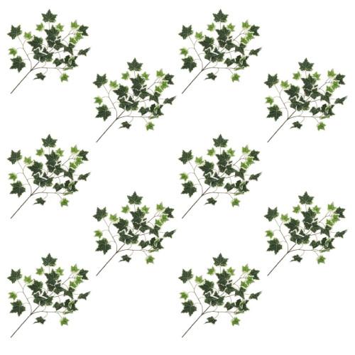 vidaXL Konstgjorda blad murgröna 10 st grön och vit 70 cm