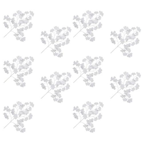 vidaXL Konstgjorda blad ginkgo 10 st vit 65 cm