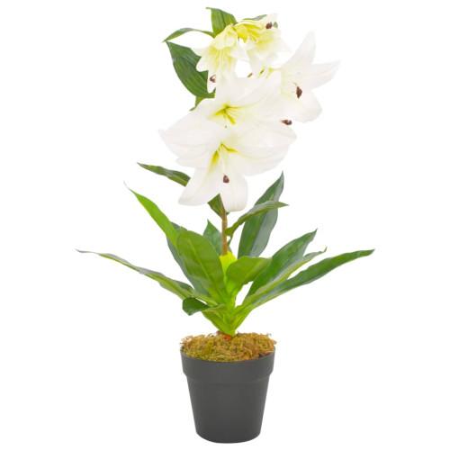 vidaXL Konstväxt Lilja med kruka 65 cm vit