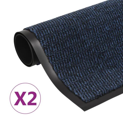 vidaXL Dörrmattor 2 st rektangulär tuftad 60x90 cm blå