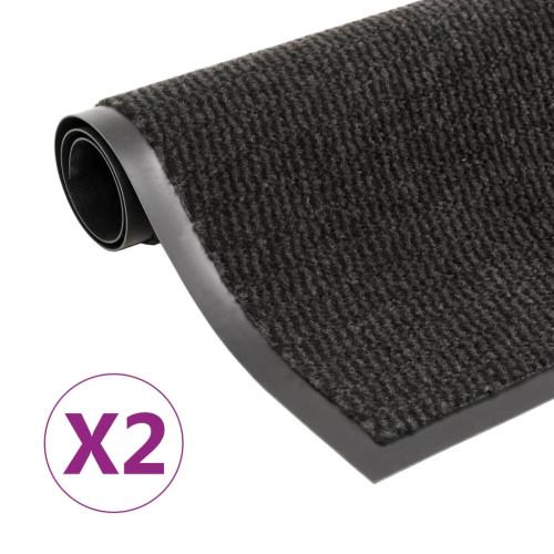 vidaXL Dörrmattor 2 st rektangulär tuftad 90x150 cm svart