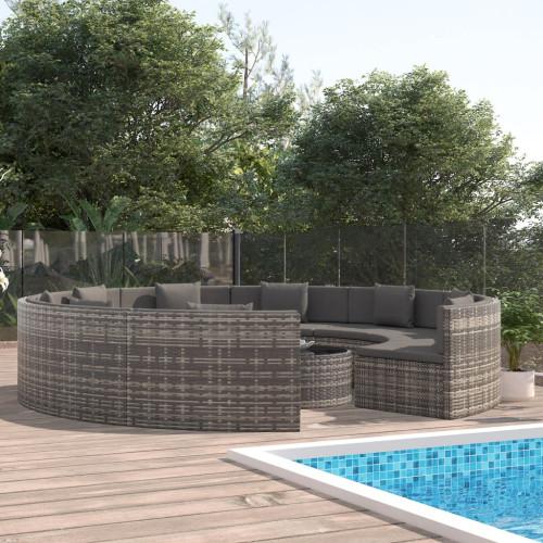 Dream Living Loungegrupp för trädgården med dynor 10 delar konstrotting grå
