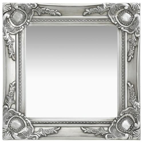 vidaXL Väggspegel barockstil 40x40 cm silver