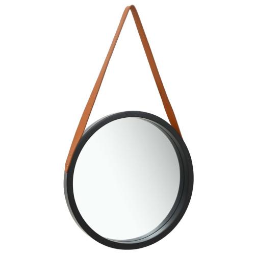 vidaXL Väggspegel med rem 40 cm svart