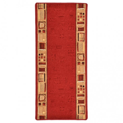 vidaXL Halkfri gångmatta röd 67x120 cm